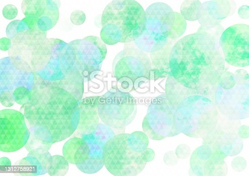 istock Illustration of a Japanese pattern over light blue watercolor 1312758921