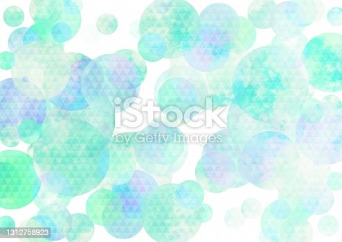istock Illustration of a Japanese pattern over light blue watercolor 1312758923