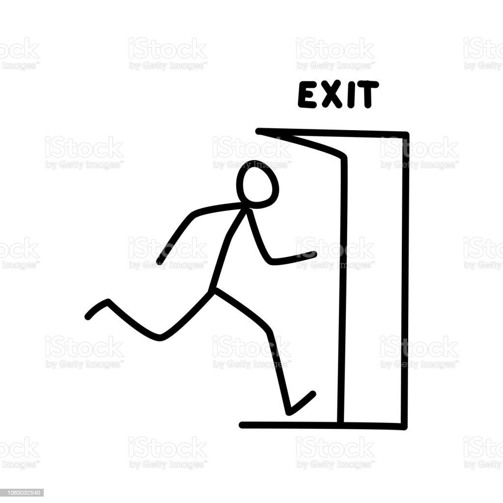 Kapıdan Dışarı Koşan Ufak Bir Adam çizimi Vektör Oturum Kapatma Ve
