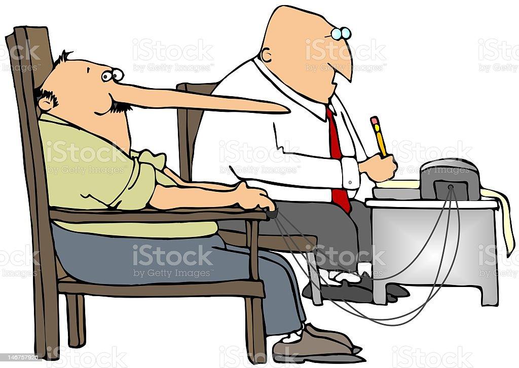 Illustration of a long nose man taking a lie detector test vector art illustration