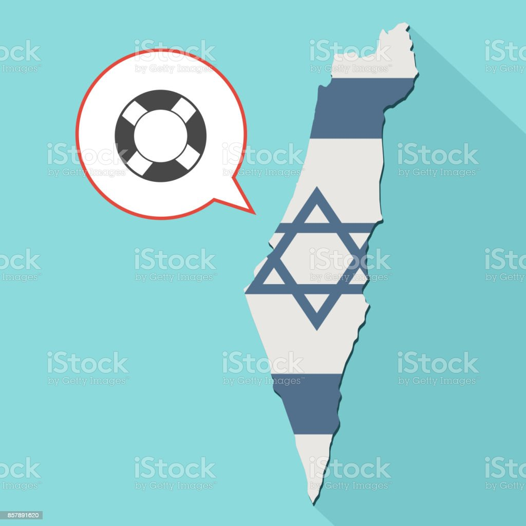 Illustration of a long shadow Israel map with its flag and a comic balloon with a ring lifebuoy vector art illustration