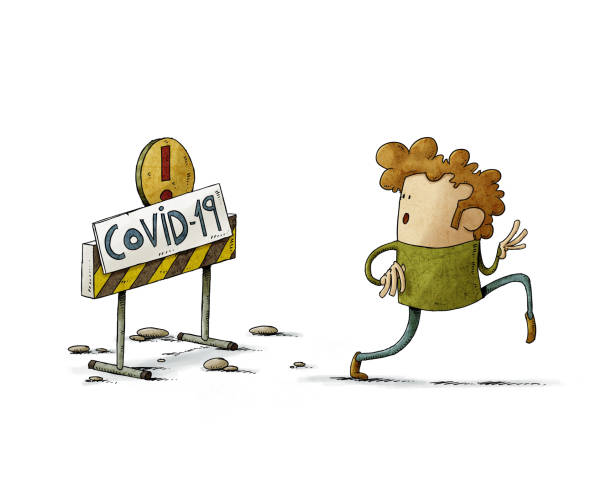 illustration of a man fleeing on tiptoe from a sign that warns that this area is contaminated by COVID-19, isolated vector art illustration