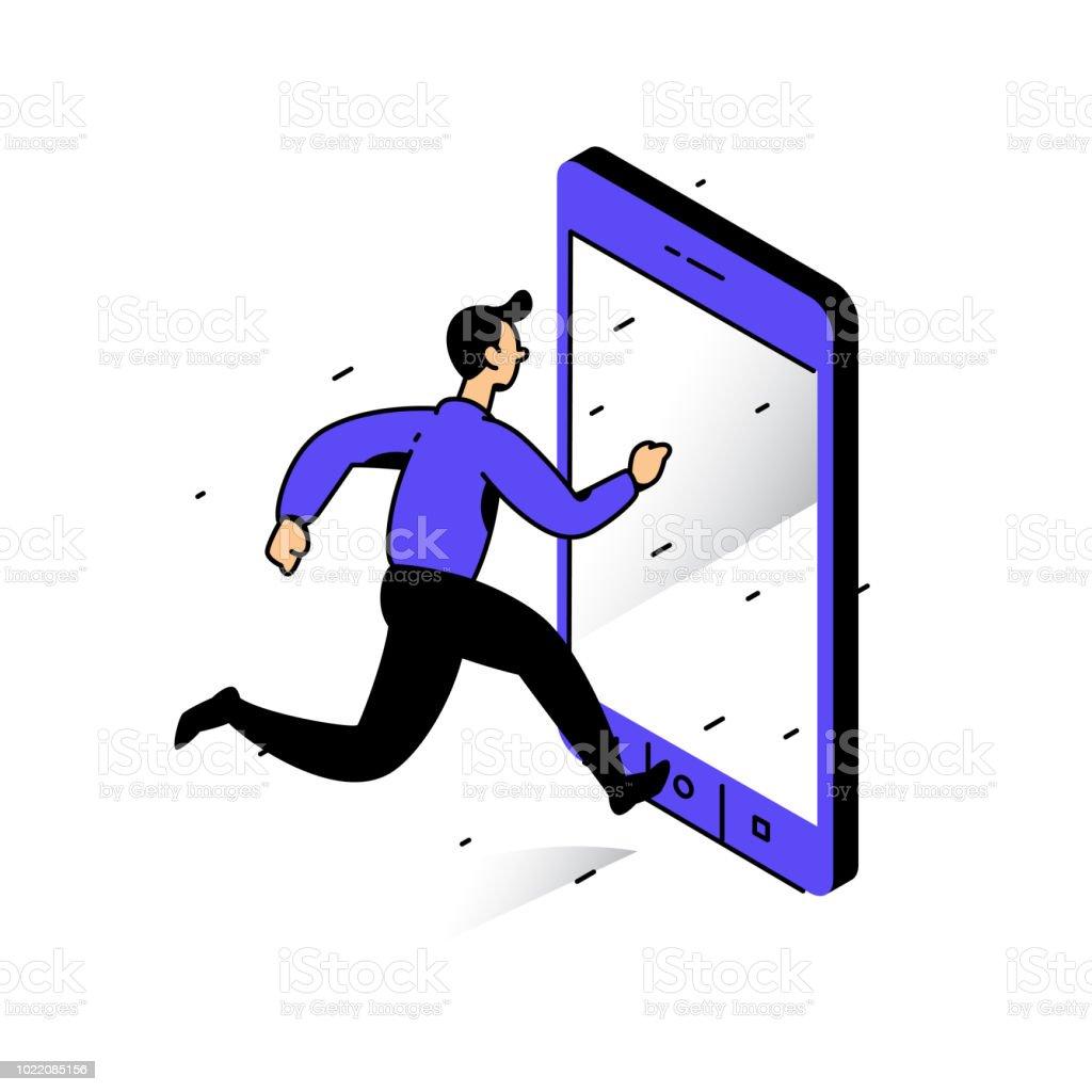 Telefona Koşan Bir Adam çizimi çan Yakalamak Görüntü Beyaz Arka Plan