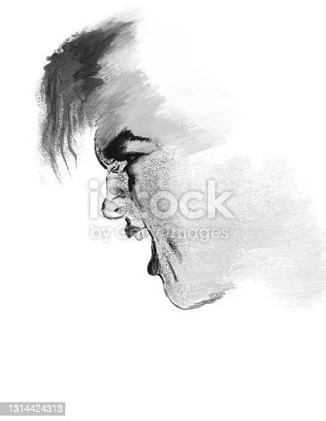 Illustration of a man symbolizing anger, intolerance, aggression. Made in the technique of pastels on a white background