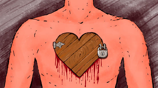 illustration of a man's body with a closed door to the heart. The suffering of separation, divorce, deceived by love.