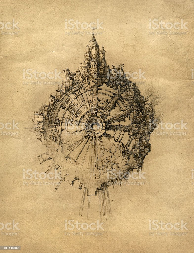 Illustration of a medieval style city on top of a wheel royalty-free stock vector art