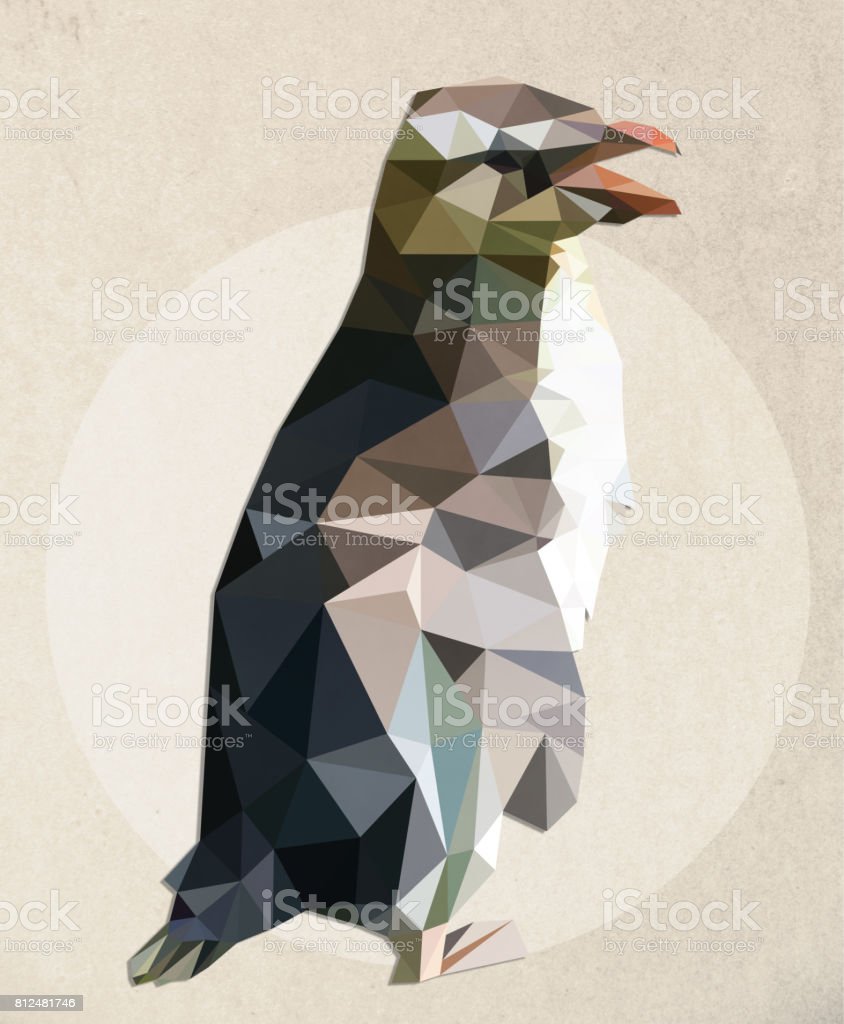 Illustration of a penguin - low poly graphic style vector art illustration