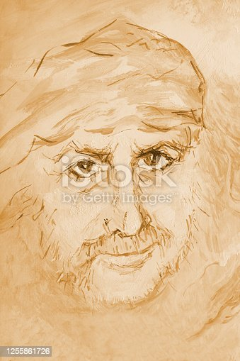 Fashionable illustration allegory desert heat thirst natural disasters modern art my original oil painting on canvas sepia impressionism portrait of a handsome manly man with flowing long hair in delicate beige tones against the light sand of the desert