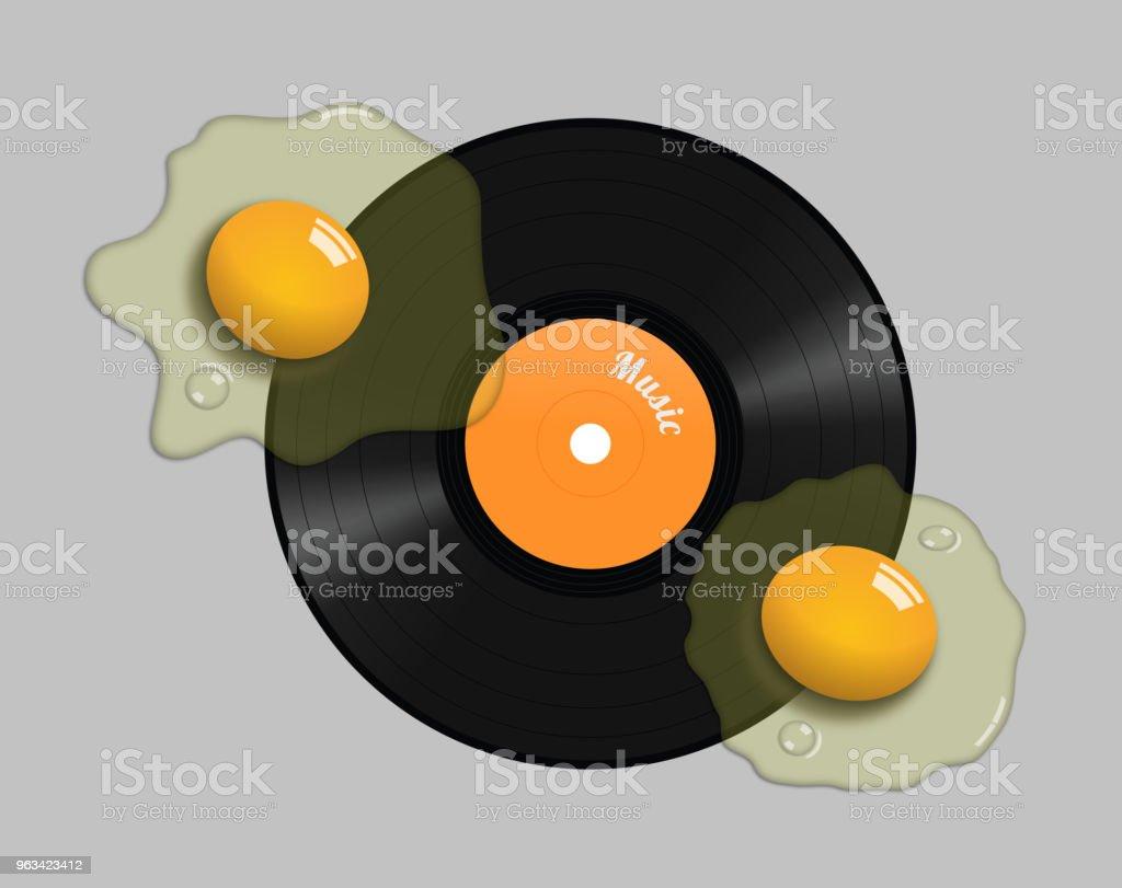 Illustration of a raw egg on a vinyl record - Zbiór ilustracji royalty-free (Analogiczny)