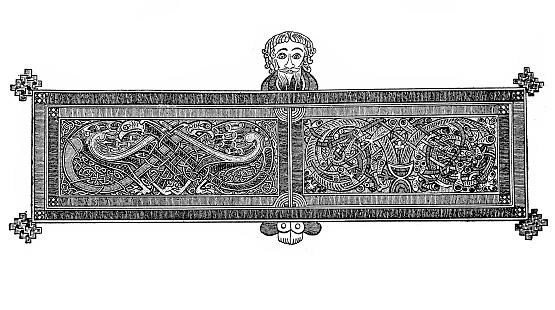 Illustration of a Ribbon decoration VII. century Irish manuscript ,in the library of Trinity College in Dublin.