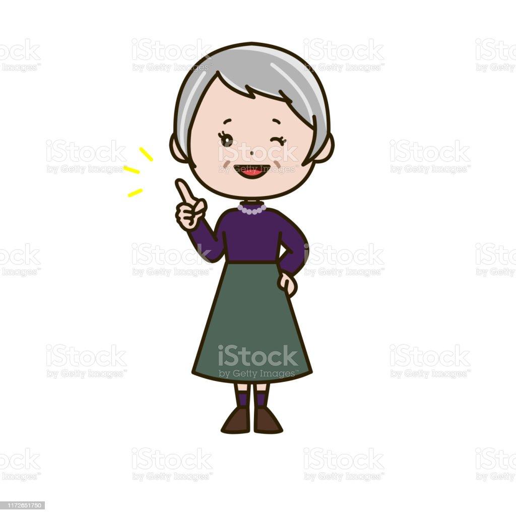 指差している先輩女性のイラスト 1人のベクターアート素材や