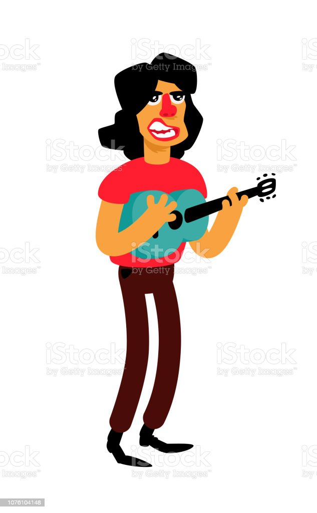 Illustration of a singer with a guitar. Funny character. Cartoon man sings beautiful songs. Latin American music performer. vector art illustration