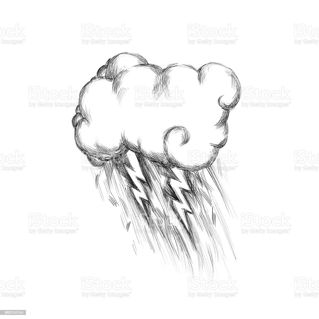 Beispiel für eine Gewitterwolke mit Regen – Vektorgrafik
