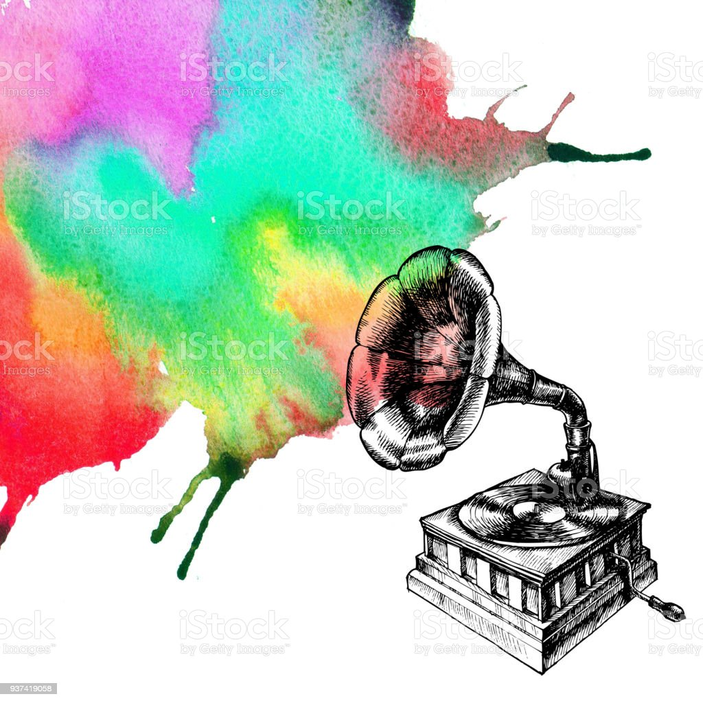 Illustration of a vintage gramophone and watercolor flow. vector art illustration