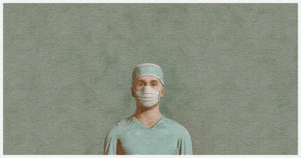 Illustration of a watercolor filtered 3D render depicting a male healthcare worker wearing a protective mask to avoid virus propagation. Virtual reality concept on health issues. male nurse stock illustrations