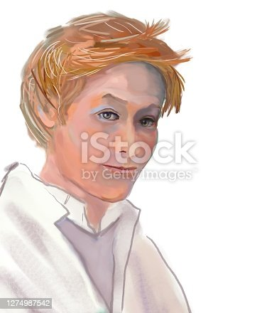 Portrait of a young scientist against the background of the blackboard. Hair is blond, disheveled. The gaze is directed to the viewer. Digital painting