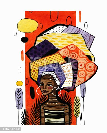 Illustration of an african american girl on a background of orange vertical stripe. Watercolor work with graphic elements is done in warm colors.