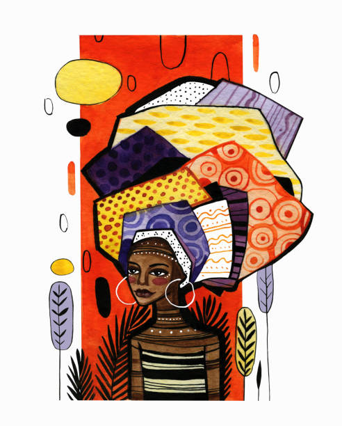 Illustration of an african american girl on a background of orange vertical stripe. Illustration of an african american girl on a background of orange vertical stripe. Watercolor work with graphic elements is done in warm colors. african american ethnicity stock illustrations