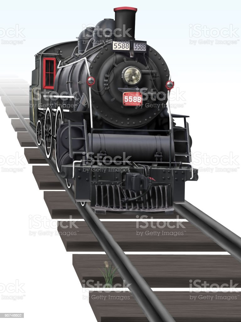 Illustration of an Antique Train vector art illustration
