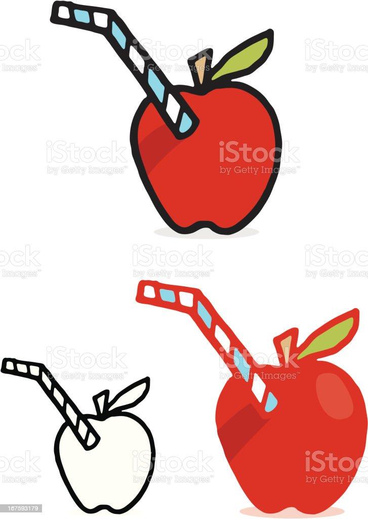 Illustration von einem Apfel mit einem Stroh in der – Vektorgrafik