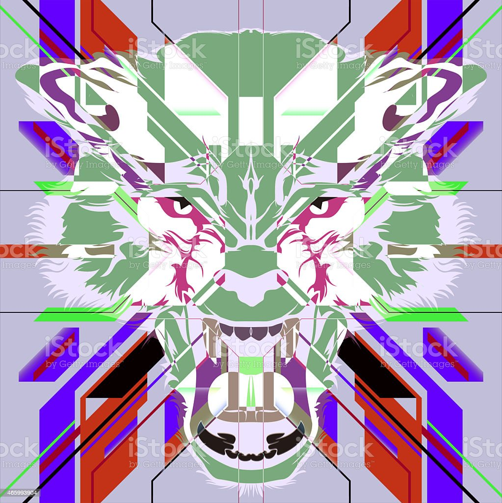 Illustration of Angry wolf head on colorful abstract background vector art illustration