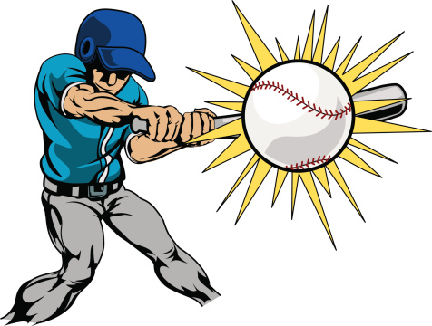 Illustration of baseball player hitting ball