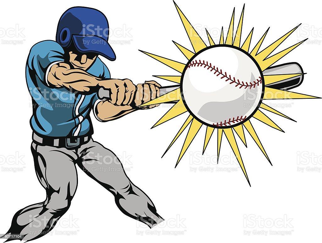 Illustration of baseball player hitting ball vector art illustration