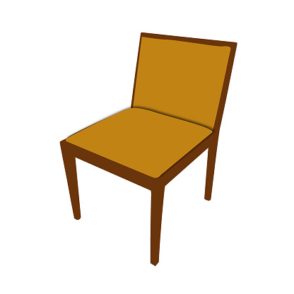 illustration of chair with wooden frame and brown upholstery