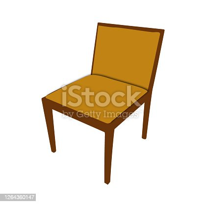 istock illustration of chair with wooden frame and brown upholstery 1264360147