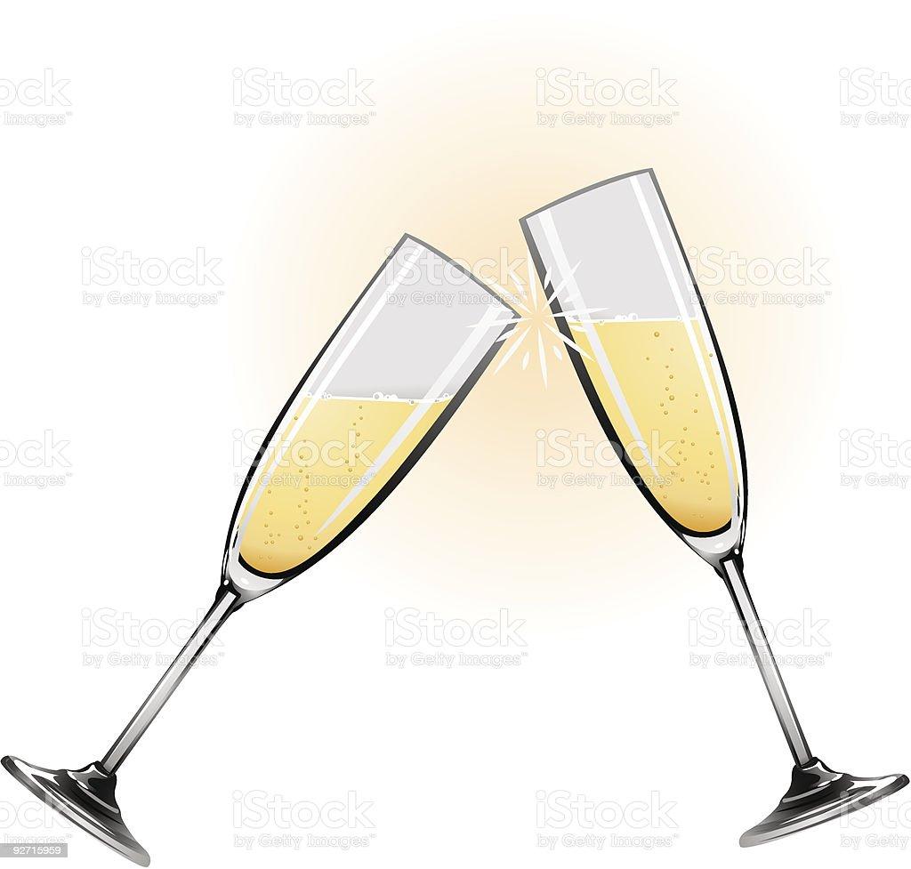Illustration of champagne glasses vector art illustration