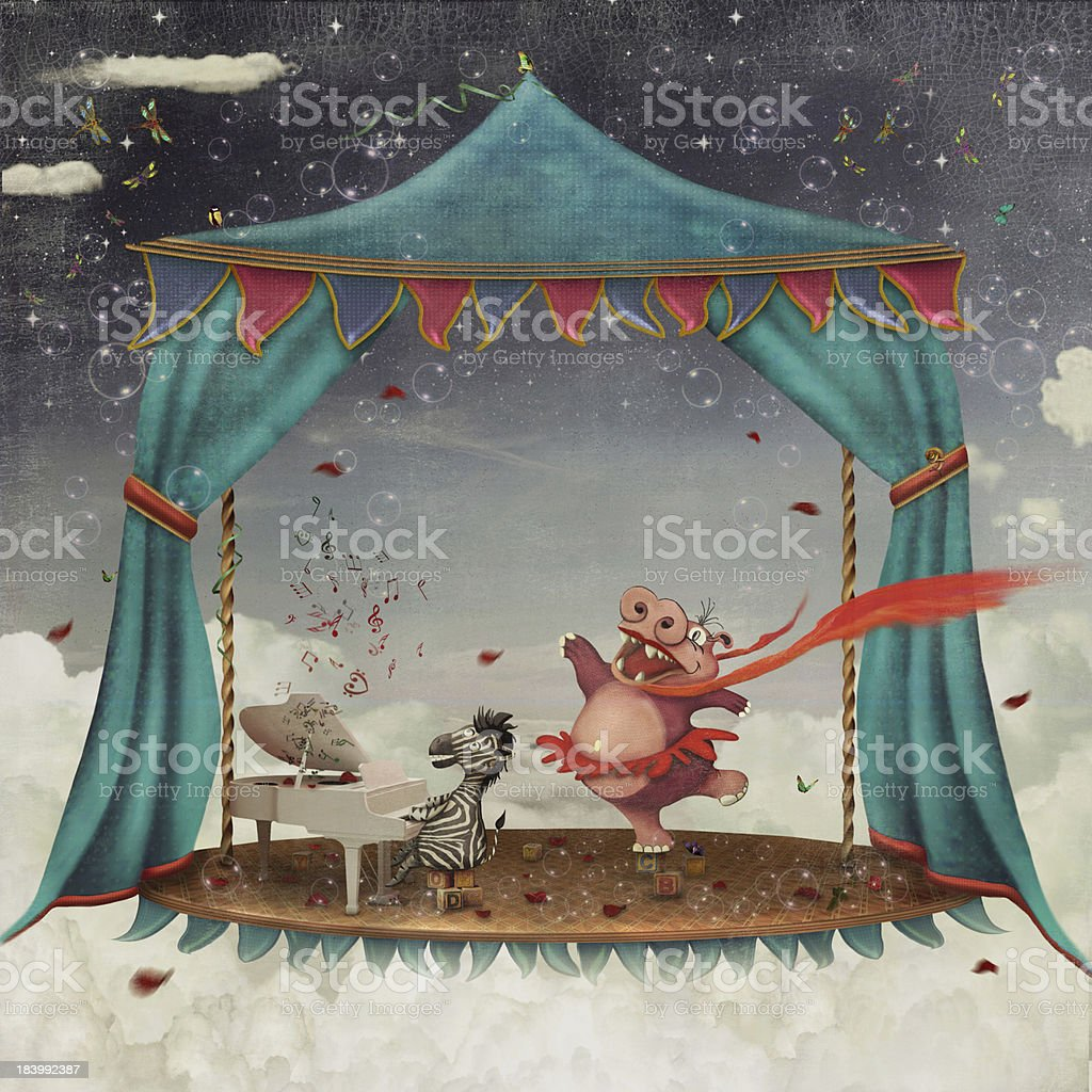 Illustration of circus animals performing royalty-free stock vector art