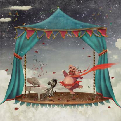 Illustration of circus animals performing