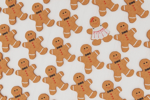 3D illustration of cookie man. Christmas food 3D rendering. Background with Christmas theme. Ginger bread.