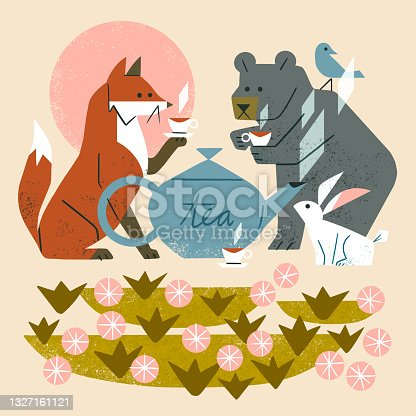 Illustration of cute woodland animals having a tea party in a garden