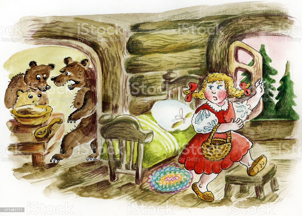Illustration of fairy tale 'Three bears'. vector art illustration