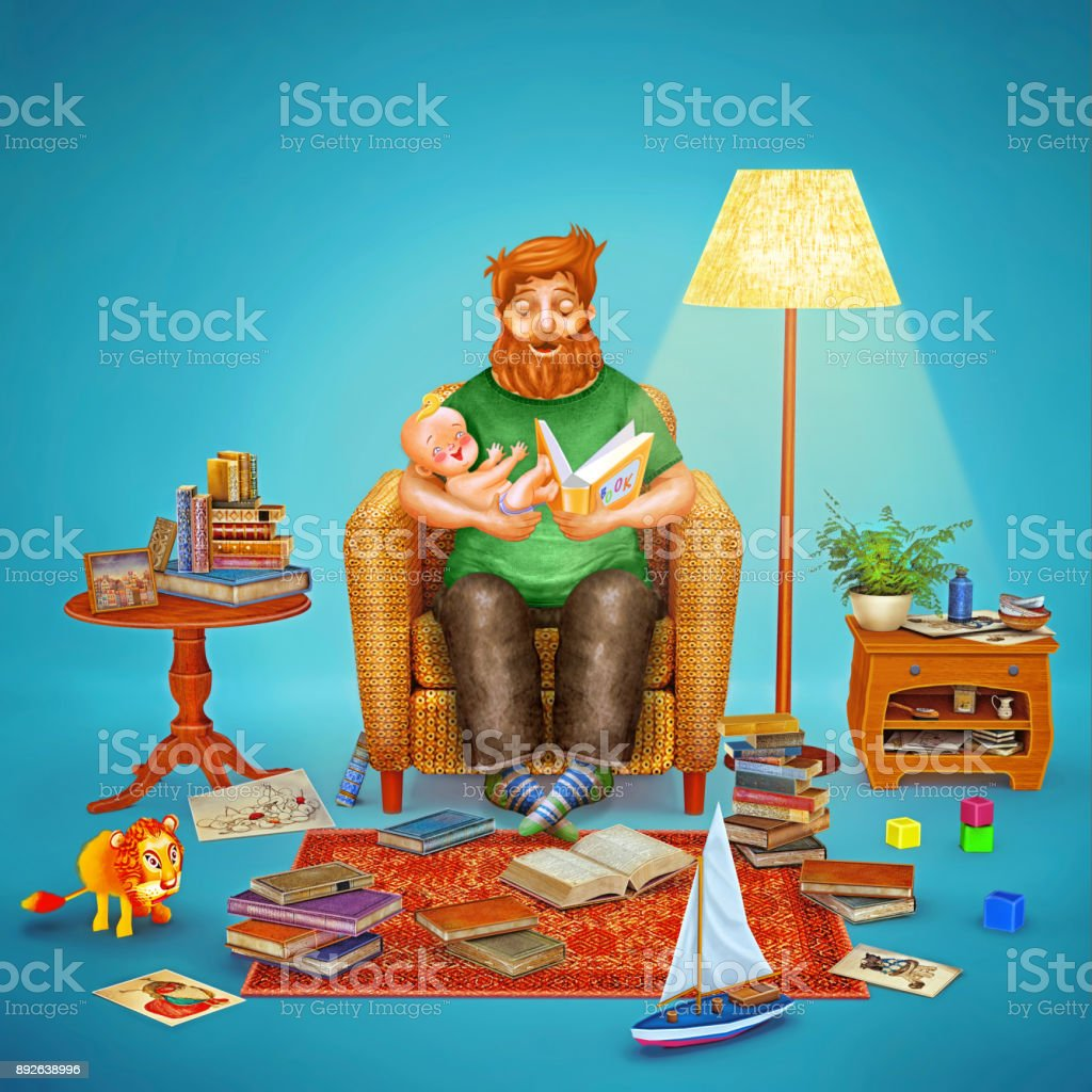 3D illustration  of father and his baby in  living room reading a book in armchair vector art illustration