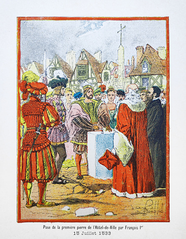 Illustration of Francis I of France laying the foundation stone of the Paris City Hall