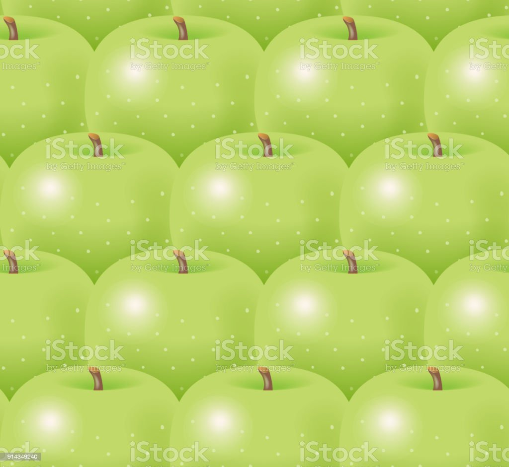 Illustration of green apples. vector art illustration