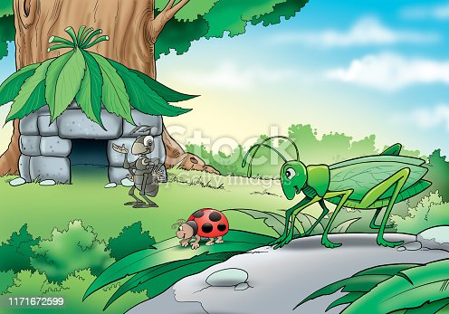 istock Illustration of insects by the tree 1171672599