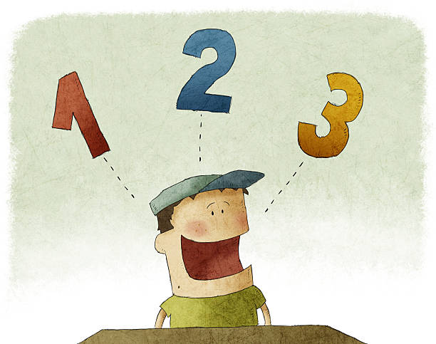 Illustration of kid counting three numbers vector art illustration