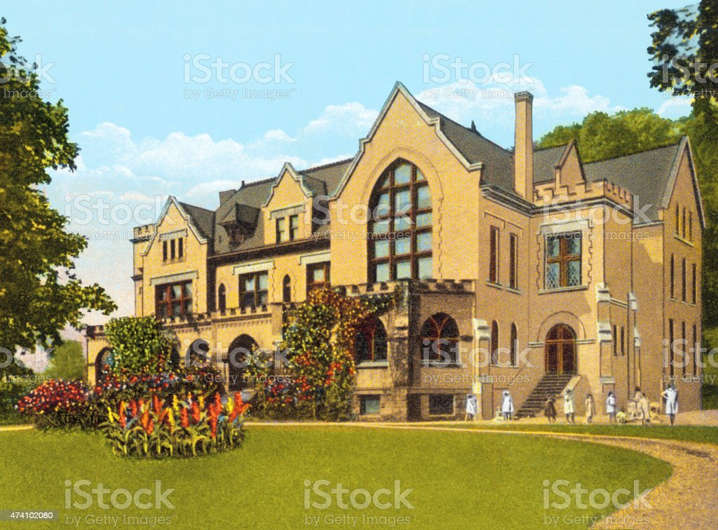 Illustration of large yellow house with people outside vector art illustration