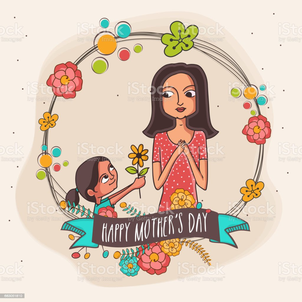 Illustration of little daughter giving flower to her mother on occasion of Mother's Day. illustration of little daughter giving flower to her mother on occasion of mothers day - arte vetorial de stock e mais imagens de adulto royalty-free