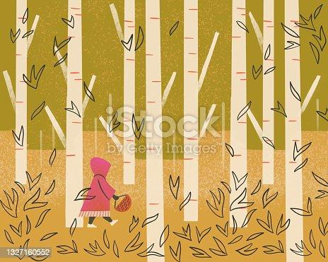 istock Illustration of little girl walking alone in forest 1327160552