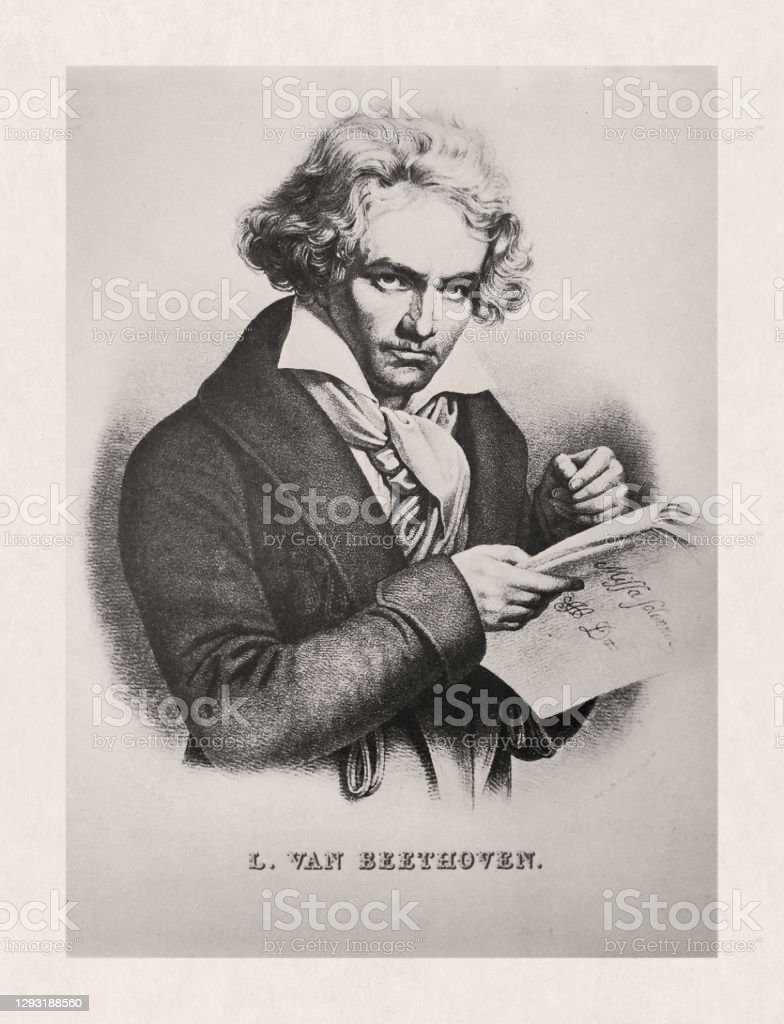 "Illustration of Ludwig van Beethoven Old illustration by Crémille of ""Ludwig van Beethoven"" based on a portrait by Joseph Karl Stieler created in 1820. 19th Century stock illustration"