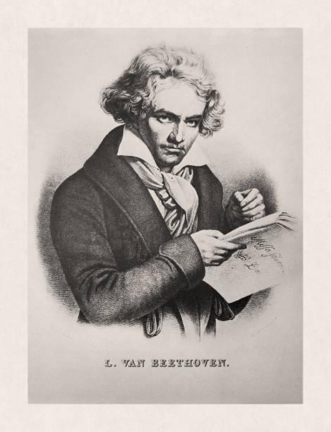 Illustration of Ludwig van Beethoven vector art illustration