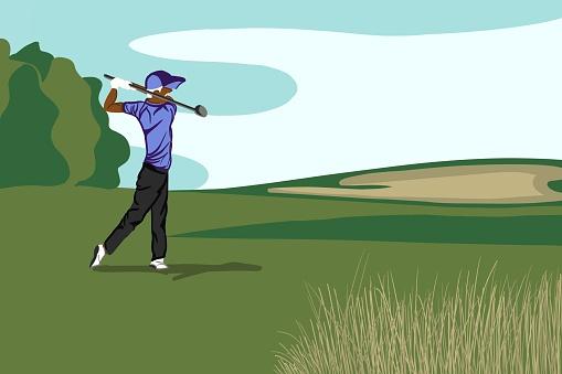Illustration of male golfer