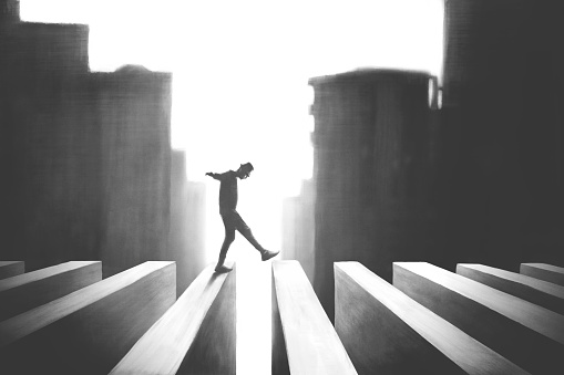 illustration of man crossing surreal road, risk concept black and white