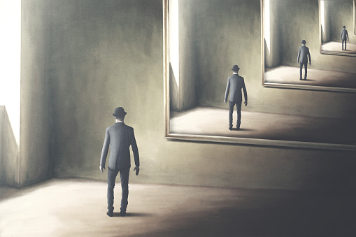 illustration of man reflecting himself in the mirror, loop surreal concept