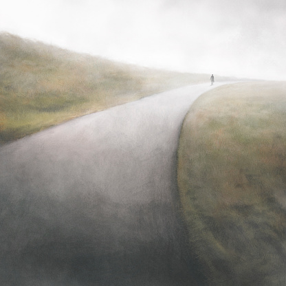 illustration of man walking in a country road