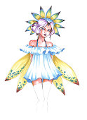 illustration of markers girl nymph fairy with wings